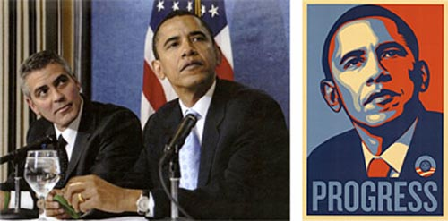 Fairey says the Associated Press image at left, by Mannie Garcia, was the basis for his Obama poster illustration, but that its use falls under the Fair Use Provision.